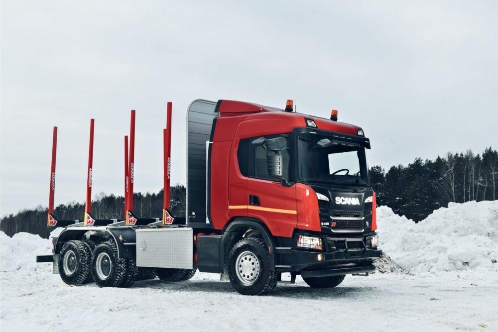 Лесовоз Scania на метане